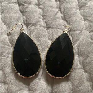Black teardrop shaped earrings